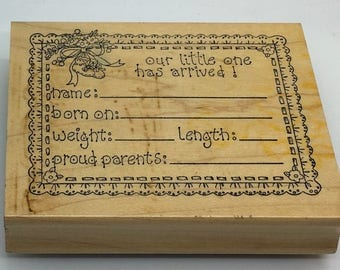 Art Impressions Rubber Stamp P 953 Baby Record Announcement Baby Shower Birth Record   Scrapbooking