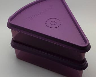 Tupperware Triangular Pie Slice Keeper Triangle Storage Food Keeper Stackable Purple Set Of 2 Replacement Part 268 269