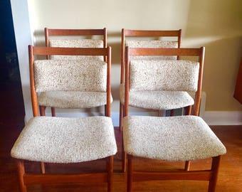 Teak Dining Chairs. Mid-Century Modern Chairs. Vintage Teak. Nordic Furniture.