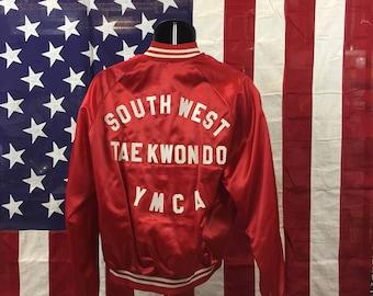 70s/80s red YMCA baseball jacket