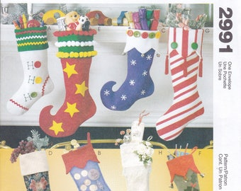 Free Us Ship McCall's 2991 Craft Sewing Pattern Christmas Whimsical Stockings Elf Shoe Factory Folded Uncut Out of Print