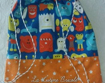 Bag child model cord monsters blue background