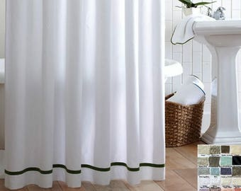 grey linen shower curtain. Linen Shower Curtain with Stripes accent  Custom Curtains 40 linen fabrics Chambray Grey Mildew Free 72x72