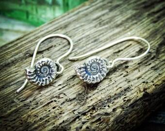 Fossil earrings| ammonite earrings| sterling silver fossil| jurrasic earrings| ammonite jewellery | wedding earrings| shell earrings|