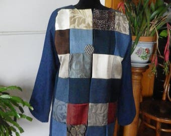 Recycled denim patchwork coat