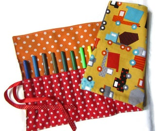 Pocket roll for crayons, markers, hooks, vehicles, red orange yellow blue black