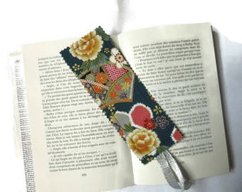 bookmarks with Japanese fabric, multi-colored flowers on Navy