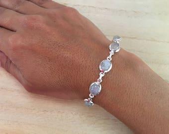 Moonstone sterling silver bracelet, Rainbow moonstone bracelet,