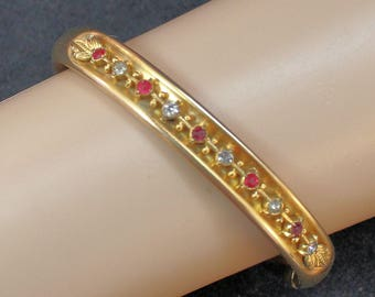 Estate 14K Yellow Gold Red and White Stones Hinged Bangle Bracelet Signed W&S Blackington Nearly 7 Inches 22 Grams Mother's Day