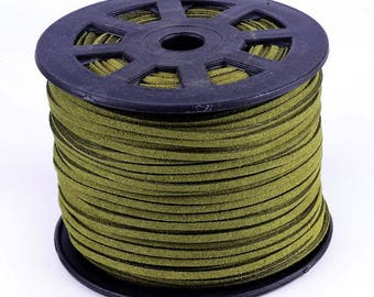 3 meters of suede cord 3 mm olive color