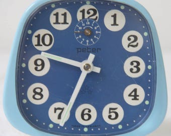 Vintage Mechanical Blue Metal Alarm Clock, Working