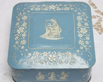 Vintage Tin, Embossed Flower and Women Decor,