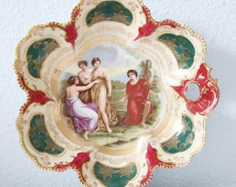 Beautiful Antique Porcelain Serving Bowl, Flower Shaped Candy Dish, Angelica Kauffman, RS Suhl, Beehive Shield Mark,
