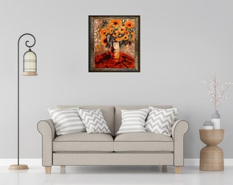 "Sunflowers & Vase In Oil ""11X14"" Gallery Wrapped Canvas 