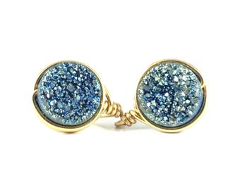 Blue Druzy Mini Stud Earring - Wire Jewelry - Post Earring - Courtney And Courtnie - Drusy - Minimalist - Statement Earring - Gift For Her