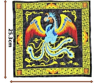 Large Pheonix Chinese Patch sewing Bright Colours Black Satin Back Sew 447