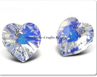 Swarovski Crystal Beads 2pcs CRYSTAL AB Heart Pendant 10.3x10mm - 6228/6202 - Crystal Hearts