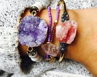 Druzy Bracelet, Druzy Jewelry, Druzy Jewelry Gift, Beaded Jewelry for Her, Beaded Bracelet, Druzy for Her, Druzy Gift for Her