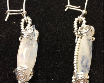 Faceted moonstones and sterling silver earrings