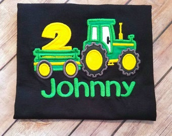 Green Farm tractor birthday shirt. name and number colors Can do boy or girl any age. T shirt color- black, white, or gray. John