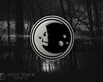 Night Terror Skelemoon Pin collaboration from Night Terror Supply Co and VOIDEaD