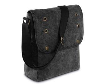 Black canvas shoulder bag