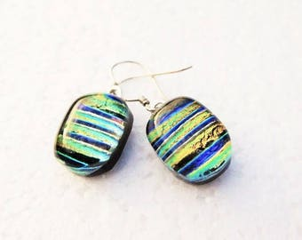 Beautiful handmade dichroic glass earrings