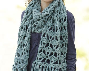 alpaca  scarf crocheted in textured pattern and fringes, alpaca and soft wool, chunky,hand made to order,