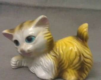 Yellow and Beige Cat with Blue Eyes Pink Features Colorful Cat Figurine