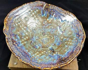 Purple Ceramic Serving Bowl, Large Serving Bowl, Pottery Bowl, Fruit Bowl, Decorative Pottery Bowl, Lace Doily, Doily Art, Doily Pottery