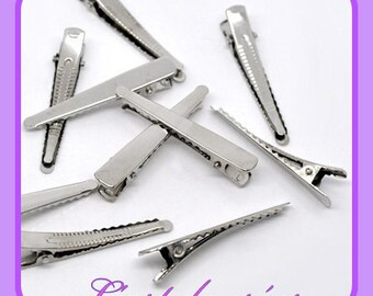 5 clips rounded 46 mm, flat Alligator Clips, 46 x 8 mm metal hair clip