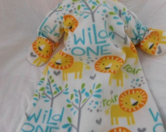 BABY FLEECE SLEEP Sack -- Wild One Lion on white --  available in S,M,L or X-Large- with or without mittens