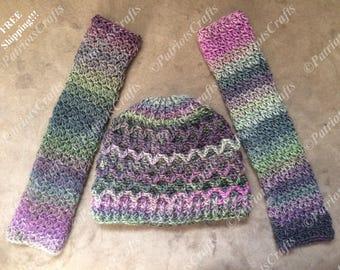 Lattice Beanie & Arm Warmers, Womans, Crochet