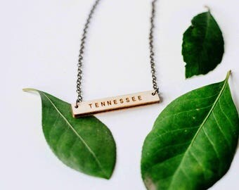 Tennessee Wood Bar Necklace, Laser Cut Wood Charm, Baltic Birch Pendant, Minimalist Necklace, Tennessee State Pride, Engraved State Necklace