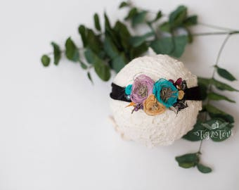 celestial black, teal and gold headband