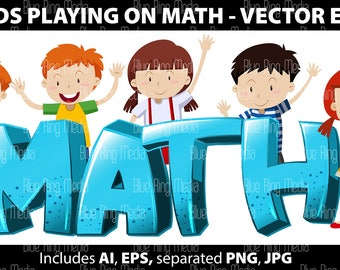 Kids playing on Math - Vector EPS