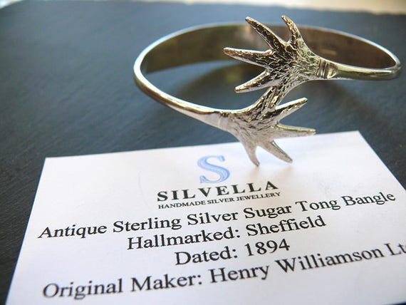 Solid Silver Antique Sugar Tong Bangle - Hallmarked 1894 - Unique Gift