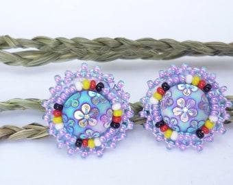 Medicine wheel beadwork earrings
