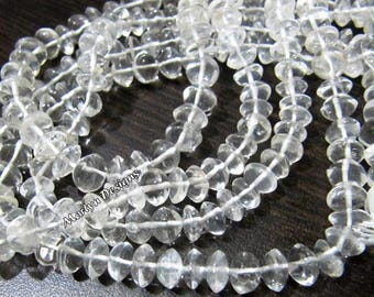 Beautiful Rock Crystal Smooth Rondelle Beads  , 5 to 7 mm YOU CHOOSE , Natural Rock Crystal Beads , Strand 14 inch, Plain Button Shape Beads