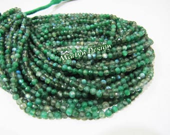 Very Good Quality Green Coated Labradorite Beads , 3-4mm Round Faceted Beads , Strand 13 inches Long , Micro Faceted Labradorite Beads