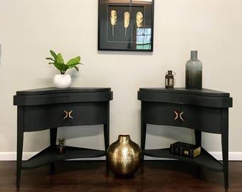 mid century corner tables, mcm end tables, vintage, pencil leg, hand painted, chalk paint, Annie Sloan, Graphite
