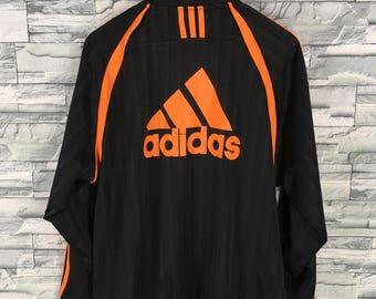 ADIDAS Jacket Track Top Mens Large Vintage 90's Adidas Equipment Big Logo Three Stripes Sportswear Black Jacket Adidas Zipper Size L