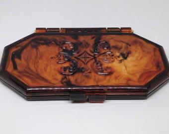 Faux Tortoise Mirror Compact, Makeup Compact, 3 Way Mirror Compact, Tortoise Mirror Case, Purse Mirror Case