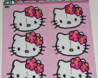 "6 HELLO KITTY Mini Embroidered iron on Patch 2"" New set of 6"