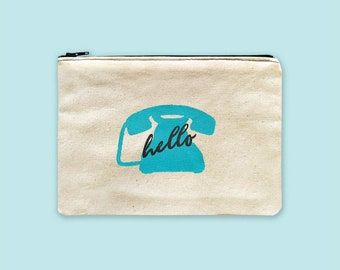 Cosmetic Bag Personalized Zipper Pouch, Phone Pouch, Painted Coin Purse Organizer Small, Makeup Bag with Saying, Cosmetic Organizer Bag