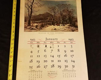 1953 Complete Calendar of Currier and Ives lithograph prints - The Travelers Hartford Connecticut Insurance advertising