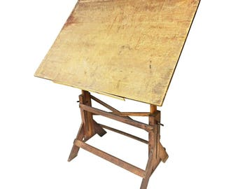 Vintage DRAFTING TABLE Cast Iron drawing industrial antique oak wood architect wooden tilting loft steampunk office kitchen island