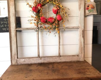 heavily distressed wood window frame old chippy wooden window frame antique 6 pane window - Wooden Window Frame