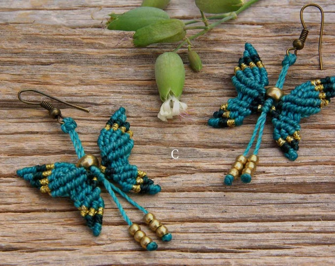 Butterfly macrame earrings, with brass beads, 5 colors to choose,boho earrings, gipsy jewelry, free shipping