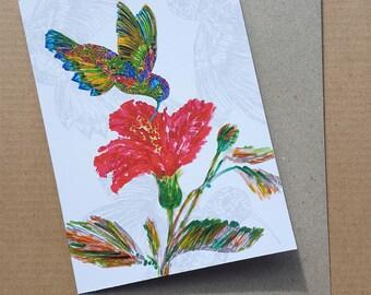 Hummingbird & Pink Flower, Blank Greeting Card, Birthday, Bird Card, Get Well Card, Flower Card, Friendship Card, Girls Card, Pink Flower